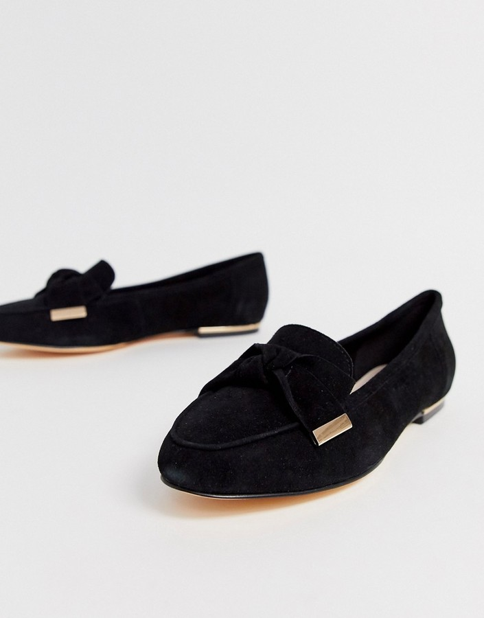 Office Flannery black suede bow buckle