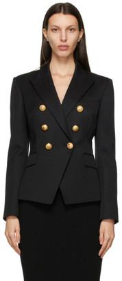 Balmain Black Wool6-Button Permanent Blazer