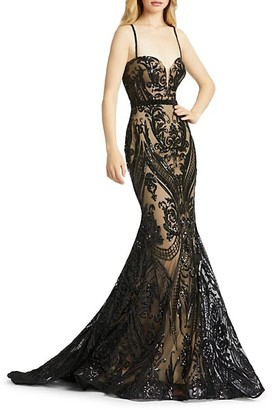 Mac Duggal Damask Sequined Trumpet Gown