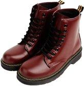 LOVEBEAUTY Women's Faux Leather Lace Up Waterproof Combat Boots Ankle Bootie US 7(EU 38)