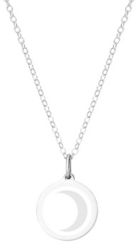"""Auburn Jewelry Mini Moon Pendant Necklace in Sterling Silver and Enamel, 16"""" + 2"""" Extender"""