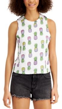 Rebellious One Juniors' Pineapple Printed Tank Top