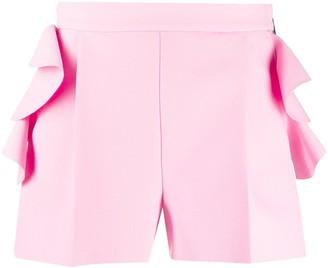 MSGM High-Waisted Ruffled Shorts