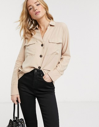 Pimkie button front v neck blouse in beige