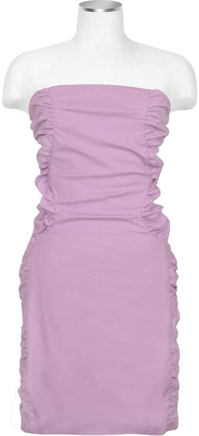 Hafize Ozbudak Lavender Cut-out Back Strapless Mini Cotton Dress