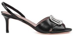 HUGO BOSS Italian-leather sandals with hardware detail