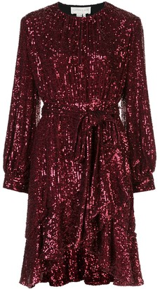 Sachin + Babi Sequin Asymmetric Belted Dress