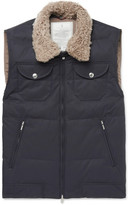 Brunello Cucinelli Shearling-trimmed Quilted Cotton-blend Gilet - Navy