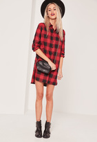 Missguided Red Twill Check Shirt Dress
