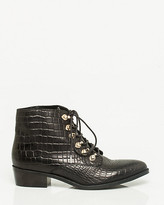Le Château Embossed Leather Lace-up Bootie