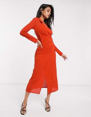 Asos Design DESIGN long sleeve shirt wrap city maxi dress-Orange