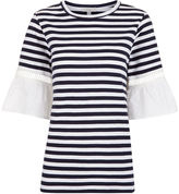 Clu Navy & White Striped Lace Cuff T-Shirt