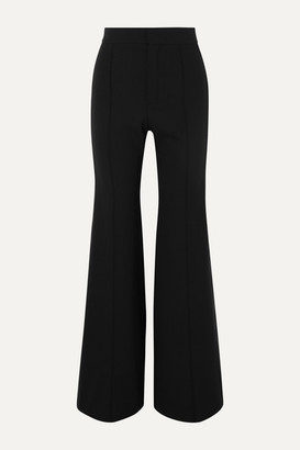 Chloé Silk-blend Satin-trimmed Wool-blend Wide-leg Pants - Black