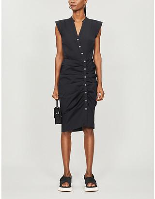 Veronica Beard Ruched stretch-cotton midi dress