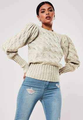 Missguided Stone Cable Knit Puff Sleeve Jumper