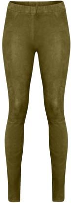 Suede Leggings In Olive Green