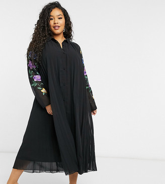ASOS DESIGN Curve pleated midi shirt dress with embroidered sleeves in black