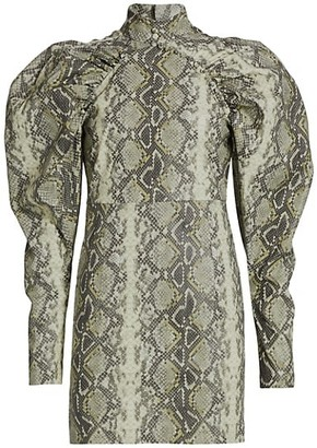 Rotate by Birger Christensen Kim Snake Print Long Puff-Sleeve Mini Dress