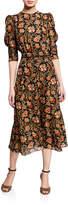 Derek Lam Indian Floral Puff Sleeve Dress