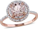 Ice Sofia B 1 1/4 CT TW Morganite 10K Rose Gold Double Halo Ring with Diamond Accents