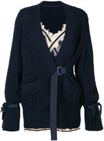 Sacai layered lace trimmed cardigan