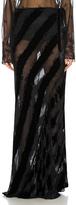 Ann Demeulemeester Velvet Stripe Maxi Skirt in Black.