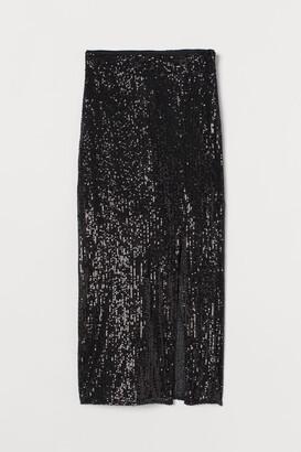 H&M Slit-front Sequined Skirt - Black