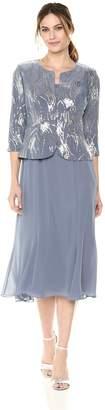 Alex Evenings Women's Petite Tea Length Mock Dress with Sequin Jacket (Regular Sizes)