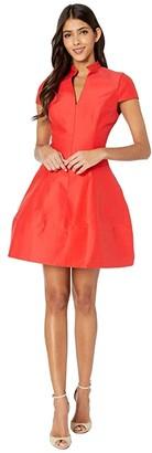 Halston Silk Faille Dress (Lipstick) Women's Dress