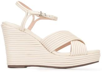 Schutz Open Toe Wedge-Heel Sandals