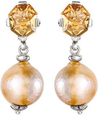 Stephen Dweck Champagne Quartz Baroque Pearl Drop Earrings