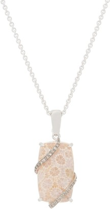 Fossilized Coral Enhancer w/ Chain, Sterling Silver