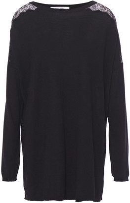 Valentino Lace-trimmed Wool, Silk And Cashmere-blend Sweater
