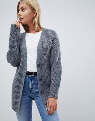 Asos Design DESIGN oversize cardigan in chunky rib with buttons-Gray