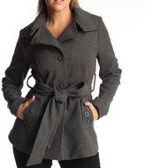 Womens Belted Blazer Alpine Swiss Wool Blend Hot Convertible Funnel Neck Collar, XL