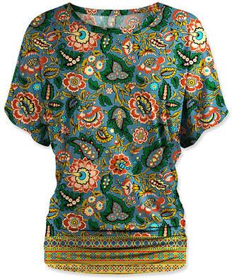 Udear UDEAR Women's Blouses Print - Blue Floral Tapestry Dolman Top - Women & Plus