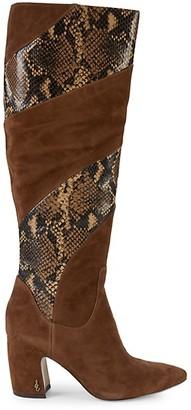 Sam Edelman Hai Snake-Print Leather Suede Tall Boots