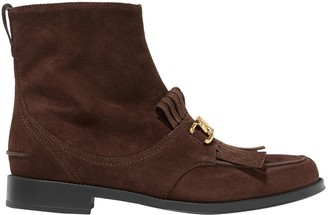 Tod's Fringed Chain-embellished Suede Ankle Boots