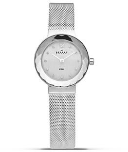 Skagen Faceted Bezel Silver Mesh Watch, 25mm