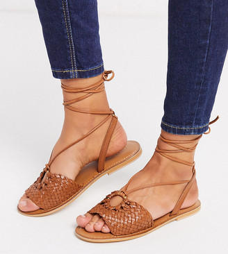 ASOS DESIGN Wide Fit Figtree woven leather tie leg sandal in tan