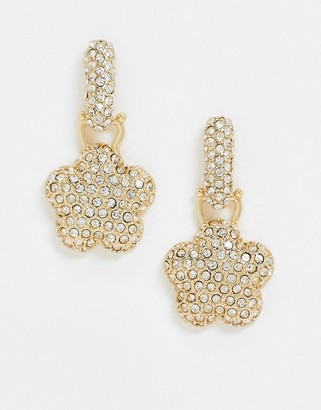ASOS DESIGN earrings with luxe crystal flower drop in gold tone