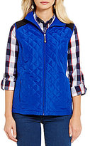 Allison Daley Diamond-Quilted Contrast-Lined Zip Front Vest