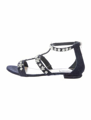 Christian Dior Garland Crystal Embellishments Gladiator Sandals Blue