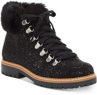 INC International Concepts Inc Women Pravale Lace-Up Hiker Bling Booties, Women Shoes