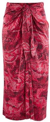 Ganni Silk midi skirt