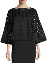Joan Vass 3/4-Sleeve Circle Lace Popover Top, Black