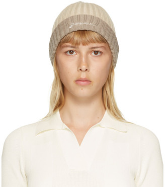 Jacquemus Beige and Brown Le Bonnet Beanie