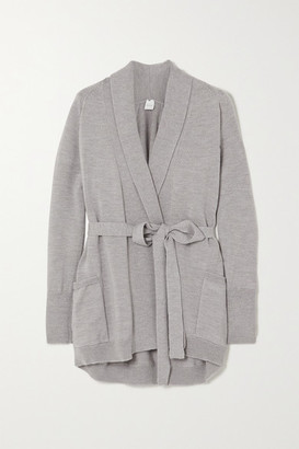 Max Mara Leisure Belted Wool Cardigan - Light gray
