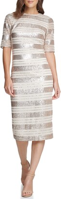 Vince Camuto Sequin Stripe Midi Dress