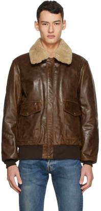 Schott Brown Leather Bomber Jacket